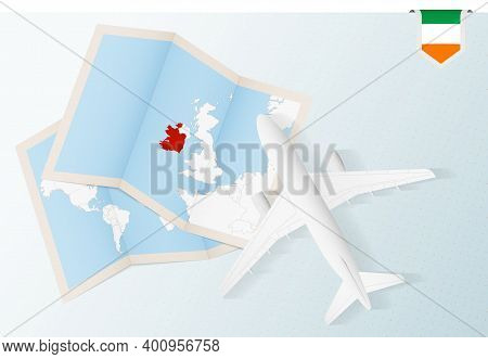 Travel To Ireland, Top View Airplane With Map And Flag Of Ireland. Travel And Tourism Banner Design.