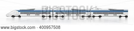 Electric Train Isolated On White Background. 3d Illustration.