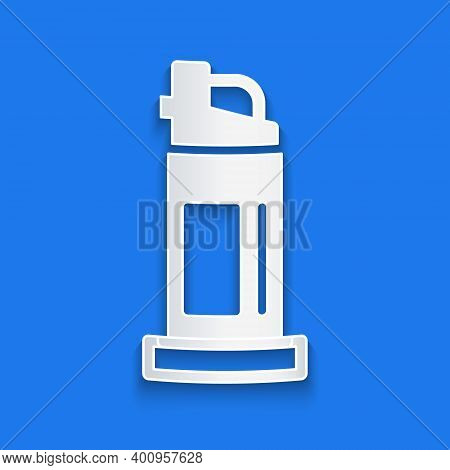 Paper Cut Pepper Spray Icon Isolated On Blue Background. Oc Gas. Capsicum Self Defense Aerosol. Pape