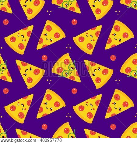 Cute Cartoon Style Pepperoni Pizza Slice Characters Vector Seamless Pattern Background.