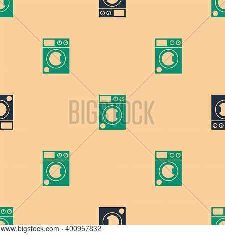 Green And Black Washer Icon Isolated Seamless Pattern On Beige Background. Washing Machine Icon. Clo