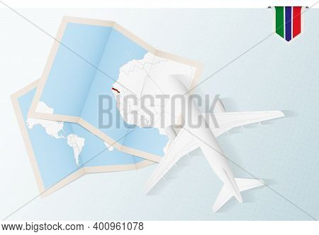 Travel To Gambia, Top View Airplane With Map And Flag Of Gambia.