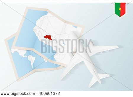 Travel To Burkina Faso, Top View Airplane With Map And Flag Of Burkina Faso.