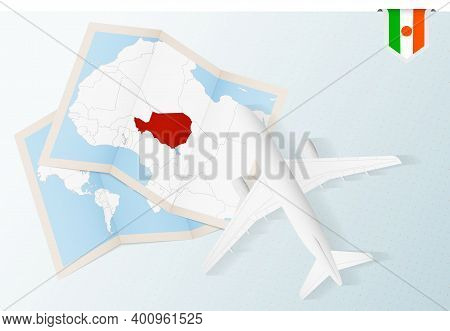 Travel To Niger, Top View Airplane With Map And Flag Of Niger.