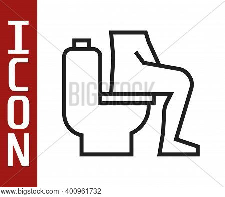 Black Line Men Sitting On The Toilet And Constipation Are Experiencing Severe Abdominal Pain Icon Is