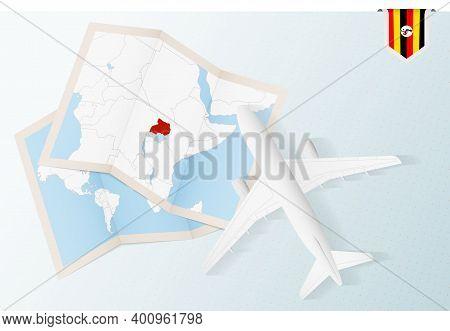 Travel To Uganda, Top View Airplane With Map And Flag Of Uganda.