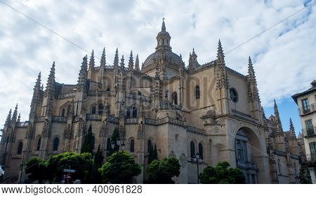 Beautiful Shot Of The Segovia Cathedral, A Gothic-style Roman Catholic Cathedral In Spain
