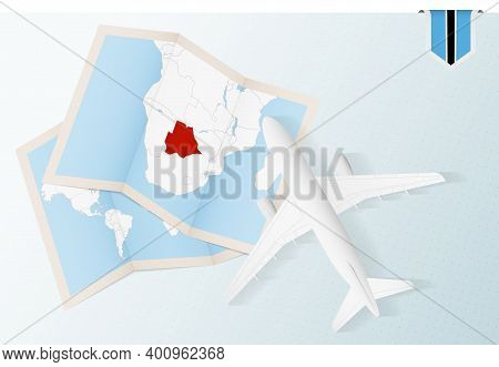 Travel To Botswana, Top View Airplane With Map And Flag Of Botswana.