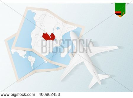 Travel To Zambia, Top View Airplane With Map And Flag Of Zambia.