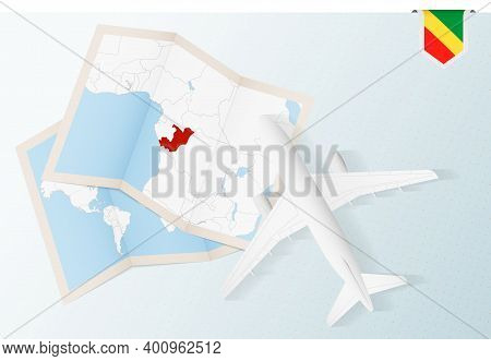 Travel To Congo, Top View Airplane With Map And Flag Of Congo.