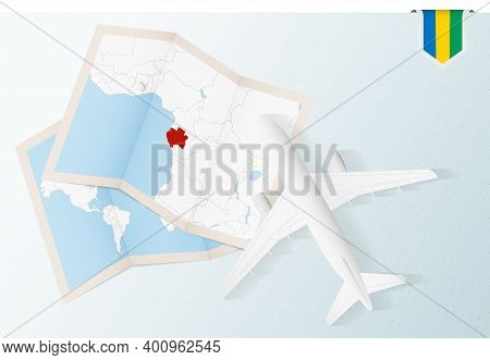 Travel To Gabon, Top View Airplane With Map And Flag Of Gabon.
