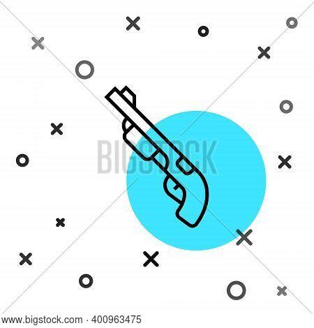 Black Line Police Shotgun Icon Isolated On White Background. Hunting Shotgun. Random Dynamic Shapes.