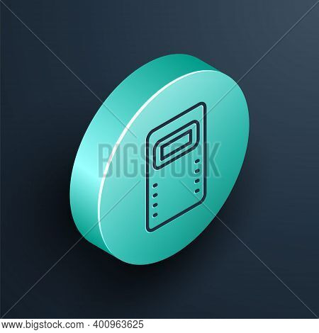 Isometric Line Police Assault Shield Icon Isolated On Black Background. Turquoise Circle Button. Vec