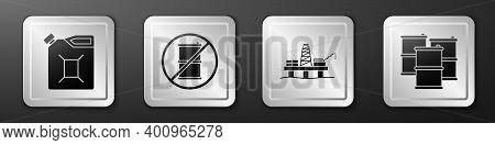 Set Canister For Gasoline, No Barrel For Gasoline, Oil Platform In The Sea And Barrel Oil Icon. Silv