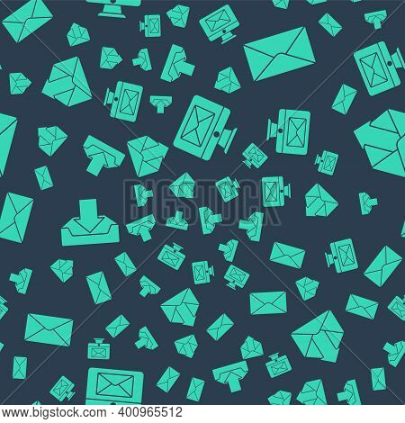 Set Monitor And Envelope, Envelope, Download Inbox And Outgoing Mail On Seamless Pattern. Vector