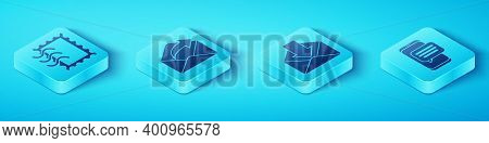 Set Isometric Postal Stamp, Outgoing Mail, Chat Messages Notification On Phone And Envelope Icon. Ve
