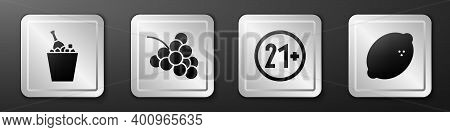 Set Champagne In An Ice Bucket, Casino Slot Machine With Grape, 21 Plus And Casino Slot Machine With