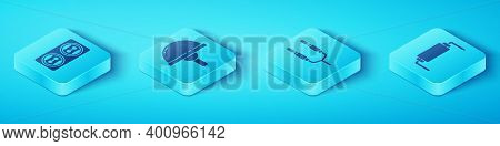 Set Isometric Electrical Outlet, Light Emitting Diode, Resistor Electricity And Audio Jack Icon. Vec