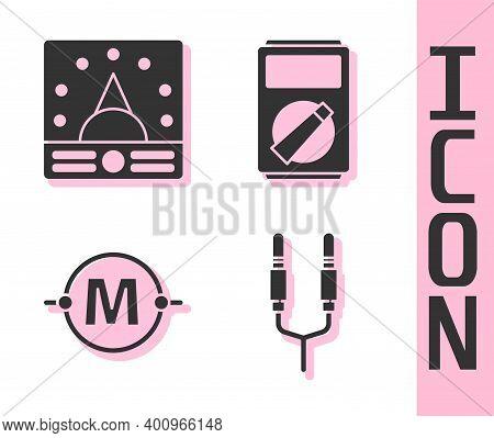 Set Audio Jack, Ampere Meter, Multimeter, Voltmeter, Electric Circuit Scheme And Multimeter Icon. Ve
