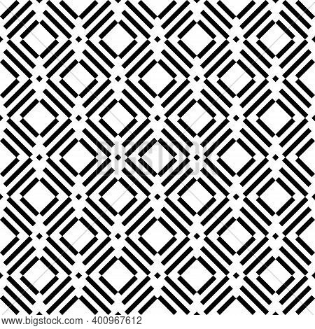 Seamless Pattern. Slanted Dashes, Squares Background. Angled Stripes, Rhombuses Motif. Diagonal Line