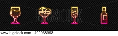 Set Line Glass Of Champagne, Wine Glass, Cocktail And Champagne Bottle. Glowing Neon Icon. Vector