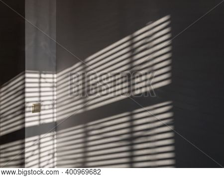 Shadow Floor. Abstract Light, Black Shadow Overlay From Window On White Texture Wall. Sunlight Archi