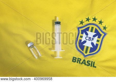 Brazil January 2021 : Vaccine Cure Covid 19 With The Brazil T-shirt. Corona Virus Vaccine Approved A