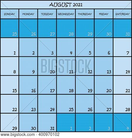 Calendar Planner Month August 2021 On Three Shades Of Blue Color Background