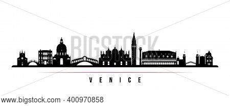 Venice Skyline Horizontal Banner. Black And White Silhouette Of Venice City, Italy. Vector Template