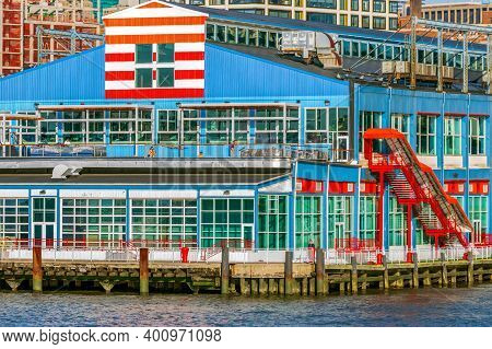 New York, Usa - March 9, 2020: View Of The Colored Pier In Manhattan From The Hudson River In The Af