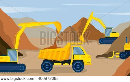Yellow Excavator Pours Sand Into The Dump Truck On Construction Site. Concept Of Professional Machin