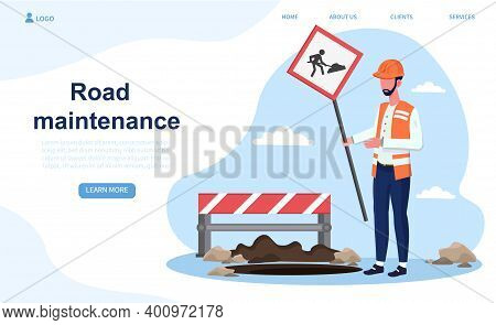 Male Construction Worker Puts A Sign Of Road Maintenance. Man In Uniform Is Warning About Road Maint