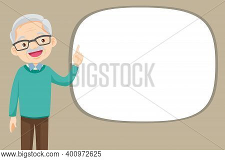 Elderly Man Pointing Finger Up, Isolated On White Background,old Man Finger Pointing With Empty Spac