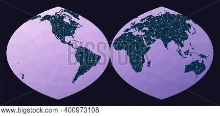 Communications Network Map. Quartic Authalic Projection Interrupted Into Two Hemispheres. World Netw