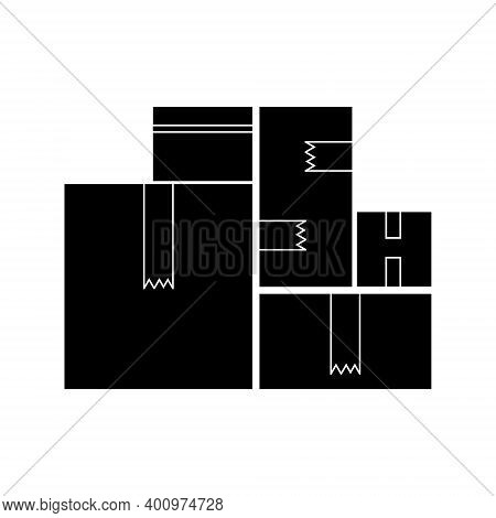 Silhouette Of A Set Of Boxes, Delivery Of Goods Or Storage In A Warehouse, Symbol Of A Parcel Or Car