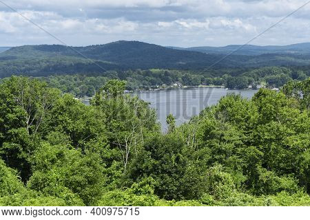 A View Of Bantam Lake From Atop Apple Hill In Morris Connecticut In Litchfield County New Engalnd.
