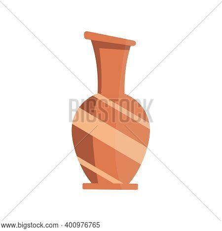 Flat Icon With Glassy Vase On White Background Vector Illustration