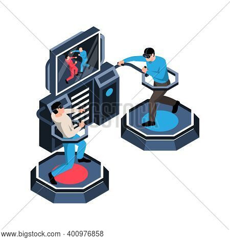 Two Men Playing Virtual Reality Simulator In Glasses 3d Isometric Vector Illustration