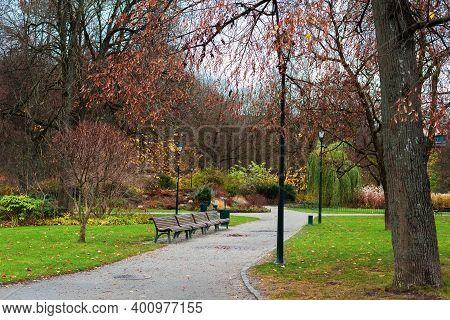 Vilnius Bernardinai Garden In The Late Autumn. Vilnius, Lithuania