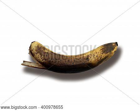 Old Brown Unhealthy Rotten Banana Fruit On White Background. Banana. Bananas Isolated On White Backg