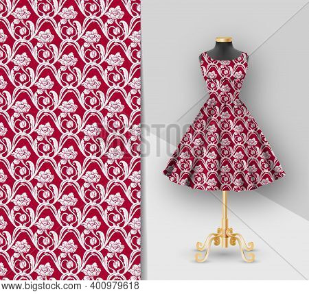 Fashion Red Fabric Printed Dress On A Black Mannequin. Dress Clothes Realistic 3d Mockup. Seamless C