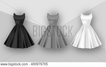 Female Dresses Mockup Collection. Dress With Puffy Skirt With Pleats. Realistic Festive 3d Dress Wit