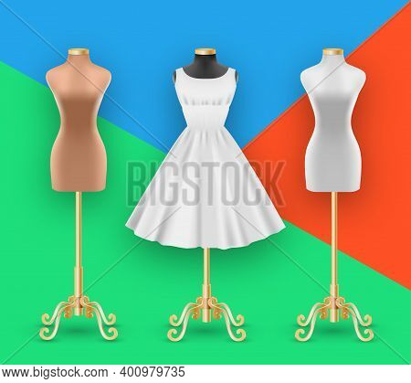 Fashion Female Dress Mockup And Mannequins Collection. White Dress With Puffy Skirt With Pleats. Rea