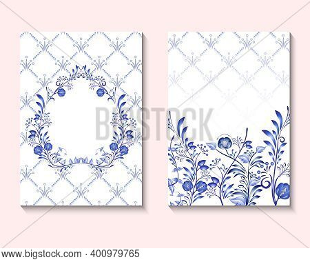 Set Of Card With Blue Flower Rose, Leaves. Ornament Concept In National Painting On Porcelain Style.