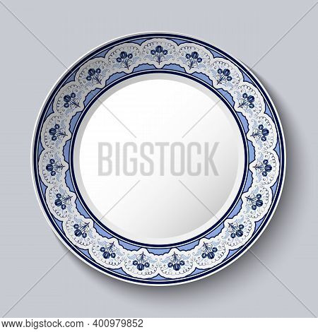 Decorative Porcelain Plate With Blue National Flower Painting In The Style Of Royal Chinese Painting