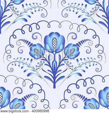 Seamless Pattern Of Light Blue Big Flowers And Elements. Repeating Floral Pattern. Decorative Patter