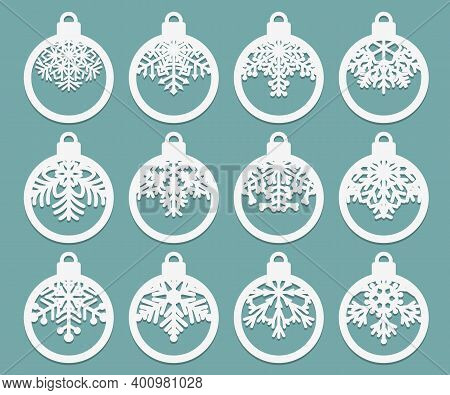 Set Of Laser Cut Christmas Balls With Snowflake Cutout Of Paper Sample Template For Christmas Card,