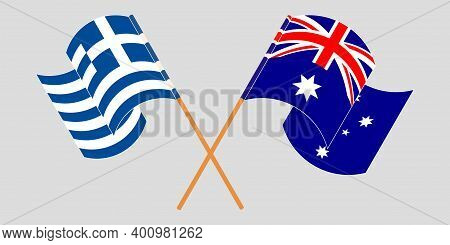 Crossed And Waving Flags Of Greece And Australia. Vector Illustration