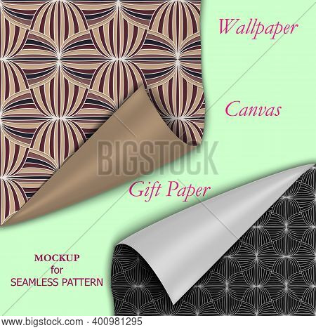 Simple Presentation Mockup Template For Repeat Pattern. Two Pieces Of Wallpaper, Fabric, Or Gift Wra