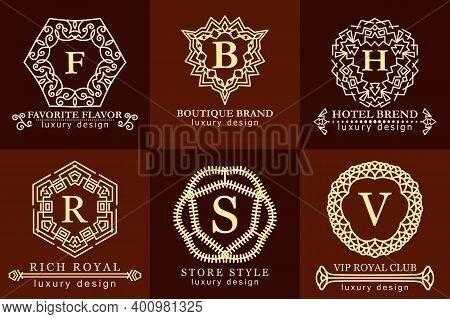 Vintage Antique Logos Monogram Set. Template Elegant Modern Design For Premium Label, Frame, Product